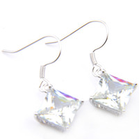 Wholesale sterling silver mystic topaz earrings - 10 Prs Luckyshine Classic Florid Fire Square Mystic White Topaz Cubic Zirconia Gemstone Silver Dangle Earrings for Holiday Wedding Party