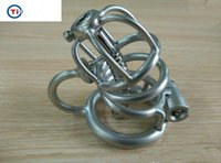 Wholesale metal catheter bdsm - 2018 New Sex Toys For Men Bdsm Sm Titanium Metal Chastity Devices Locked Prevent Masturbation Abstinence Penis Cage with catheter