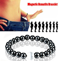 schwarze steinperlen rund großhandel-Schwarz Stein Armband Hübsche Therapie Armband Für Männer Frauen Gewichtsverlust Runde Gesundheitswesen Magnetische Hämatit Männer Stretch Perlenarmband