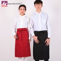 Wholesale chef waist aprons - 2018 Solid color Kitchen Aprons Half length Long Waist Apron Catering Chefs Waiters Household Cleaning Accessories Delantal
