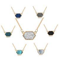 ingrosso gioielli in pietra coreana-14 Stili Moda Coreano Collana in pietra naturale Rhombus resina cristallo Cluster Collana gioielli pendenti collana donne regali perfetti H216F