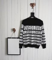 Wholesale Stripe Long Sleeve Top - 2017 Top quality Winter Cotton sweater letters loved stripe print High quality streets Multi