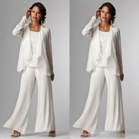Wholesale Cheap Suit For Women - 2018 Elegant White Chiffon Mother Of Bride Pant Suit For Wedding Long Sleeves Plus Size Formal Women Evening Occasion Gown Custom Made Cheap