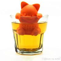 Wholesale diffuser kit - Cartoon Cat Tea Infuser Silicone Loose Animal Tea Leaf Strainer Herbal Filter Diffuser Tea Makers Tool Kit Teaspoon XL-326