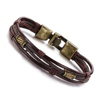 Wholesale multi charm bracelets - NEW Leather Bracelets Fashion Multi-Layer Genuine Leather Man Bracelets Casual Sporty Easy Alloy Hook Link Chain Men Jewelry on sale