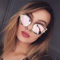 poutres lunettes de soleil achat en gros de-Mode féminine Twin-Beams Cateye Vintage Lunettes de soleil Marque Designer Points rétro Lunettes de soleil superstar Femme Dame Oeil de Chat UV400