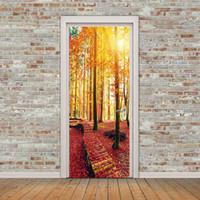 decoración de la habitación papel pintado autoadhesivo al por mayor-Creative 3D View Maple Forest Path Door Stickers DIY Mural Wallpaper Impermeable Autoadhesivo Puerta Decoración Salón Dormitorio Decoración del hogar