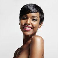beste glueless spitzeperücken großhandel-Günstige Pixie Cut kurze glueless Lace Front Echthaar Perücken für Afroamerikaner Beste brasilianische Haar Perücken