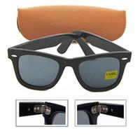 eyewear scharniert groihandel-Hot Sommer Top Qualität Mode Herren / Damen Sonnenbrillen Schwarz Metall Scharnier Rahmen 50mm Brillenglas UV400 Sonnenbrille Eyewear