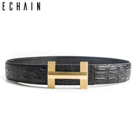 Wholesale Male Black Leather Jeans - ECHAIN Solid Brass Luxury H Brand Designer Crocodile Belts Men High Quality Women Punk Genuine Real Leather Male Strap for Jeans