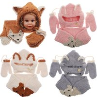 Wholesale white baby yarn for sale - Baby Knitted Hat Scarf Gloves Set Fox Design Winter Warm Kids Boys Girls Beanies Caps set NNA858