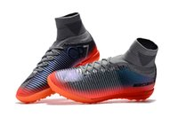 Wholesale high ankle shoes men height for sale - Original Grey Orange CR7 Flat Soccer Cleats Mercurial Superfly V TF IC SX Neymar JR Indoor Kid Soccer Shoes High Ankle Football Boots