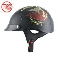 Wholesale vintage scooter helmets - New arrival TORC motorcycle half helmet Retro scooter helmet vintage open face Cool skull Lucky 13 moto casco