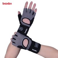 Wholesale grey lifts - Boodun Sport Weight Lifting Gloves Gym Men Equipment Non-slip Breathable Wrist Wear-resistant Fitness Bell Exercise Women Gloves