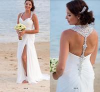 Wholesale simple slimming wedding dresses - Surplice Bodice Sweetheart Halter Beaded Crystal Shinning Mermaid Wedding Dresses Slim Draped Sweep Train Beach Bridal Gowns 2018