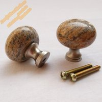 Wholesale Knob Cabinet Gold - Free Shipping Kashmir Gold Granite Knob 32mm,5pcs Golden Knobs Handles for Furniture Wardrobe Closet and Kitchen Cabinet Drawers