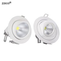 Wholesale office spot lights - ZINUO 10W 15W COB Led Downlights Recessed Ceiling Spot Light 360 Degree Adjustable Ceiling Downlight For Home Office AC85-265V