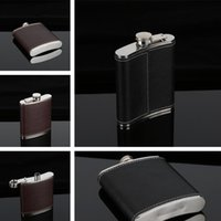 Wholesale pocket bottle whiskey - Stainless Steel Hip Flask Flagon Wine Pot Outdoor Portable PU Leather Cover Hip Flasks Whiskey Bottle I374