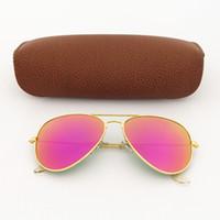 Wholesale mens fashion sun glasses - 1pcs New fashion vintage Mens Womens Designer Pilot Sunglasses Sun Glasses Gold Frame Purple Colorful Mirror 58mm Len Eyewear Brown Box
