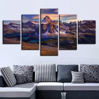 Wholesale framed river oil paintings online - Home Wall Art Decor Pieces Mountain River Nature Painting HD Prints Mount Assiniboine Poster Modular Framework Canvas Pictures