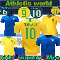 Wholesale Women S P - 2018 Brazil home away soccer jersey 18 19 Brazil kids Neymar JR P COUTINHO DAVID LUIZ Paulinho jerseys 2018 Brazil woman Football shirt