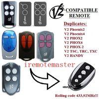 control remoto universal rolling code al por mayor-Nuevo FOR V2 TSC2, V2 TSC4, V2 TRC2, TRC4 Reemplazo del transmisor de control remoto, clonación de código 433.92 mhz