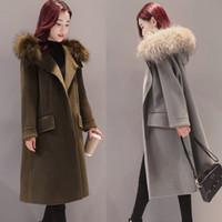 Wholesale Women S Wool Maxi Coat - Korean Edition 2017 Autumn Winter Fashion Women Wool Coat Medium Long Slim Female maxi coat winter Wool Blends Outwear