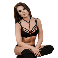 tops de tiras chicas al por mayor-Bondage Harness Girl Hollow Out Jaula elástica Bra Brage Strappy Halter Bra Bustier Cropped Belt Harness Bra Crop Tops Mujeres