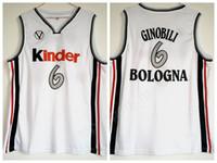 Wholesale kinder sport - College 6 Manu Ginobili Jersey Men Basketball University Kinder Bologna Jerseys Team White Color Breathable For Sport Fans Free Shipping