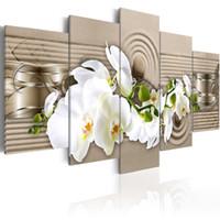 orquídea imagens venda por atacado-5 Peças de arte da parede hd impressão da lona óleo da flor da orquídea pintura imagens de flores para o quarto pinturas modernas fotos abstratas