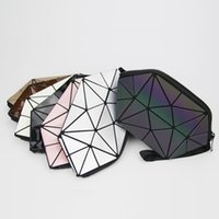 Wholesale folding storage barrel resale online - 2018 Luminous Makeup Bag Women Zipper Cosmetic Bag Geometric Women s Cosmetics Organizer Folding Travel Make up Storage