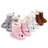 ayı ayakkabıları toptan satış-Toddler ayakkabı kış bebek erkek kız yün ayı kalınlaşma kar botları 0-12 ay bebek ayakkabı için 4 renkler