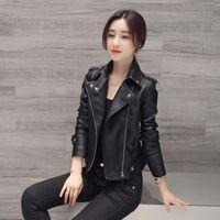 sexy schwarze frauenjacken großhandel-Frauen-Kunstleder-Jacken-dünne lange Hülsen-Faux PU-Reißverschluss-Frauen-Mantel-Dame Sexy Black Motorcycle Jacket Outerwear