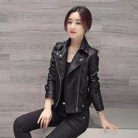 bayanlar uzun siyah deri ceket toptan satış-Kadın Faux Deri Ceket Ince Uzun Kollu Faux PU Fermuar Kadın Coat Lady Seksi Siyah Motosiklet Ceket Giyim