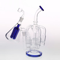 Wholesale handmade bongs - Blue Glass Bongs with 5 Honeycom Percolatos and one in-line Filter Good Heady Water Pipes with Ash Catcher Handmade Two Function Dab Rigs