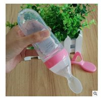 Wholesale Newborn Bottle Feeding - Feeding Bottle Spoon Silicone 90ML Baby Infant Newborn Food Supplement Rice Cereal Spoon Bottle Training Feeder Free Shipping