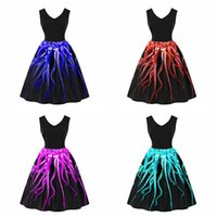 v boyun swing elbiseleri artı boyutları toptan satış-Bayanlar Zarif Ahtapot Baskılı V Yaka Salıncak Elbise Ev Hanımı Parti Pinup A-line Kolsuz Elbise Yaz Kızlar Artı Boyutu Sundress