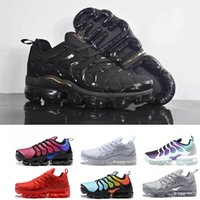Wholesale metal sneakers - New Vapormax TN Plus Running Shoes Classic Outdoor Run Shoes Vapor tn Black White Sporting Shock Sneakers Men requin Olive Silver In Metal