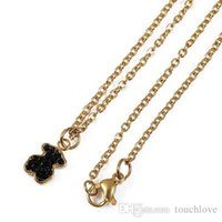 Wholesale black onyx chains - 2017 Stainless Steel Bear Pendant Necklace 2 Colours Never Fade Traditional Style For Women Hot Selling