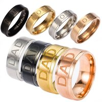Wholesale Size Titanium Ring - Stainless Steel LOVE YOU MOM DAD Ring Carving Letter MOM Rings Bands Mother's Day Gift for Mother Father Fashion Jewelry Gift Drop Shipping