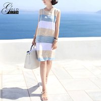Wholesale basic cap - Gold Hands Cotton Striped Basic Summer Women's Dress Linen Dresses O-neck Boho Beach Female Dress New Hot Casual Women Clothing