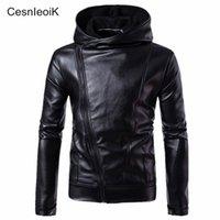 Wholesale leather jackets punk style men - M-4XL Mens Casual Punk Style Hooded Black Leather Jackets 2017 Autumn Fashion Thin Zipper Jacket Euro Size Brand Coats X579