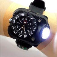 relógios brilhantes venda por atacado-3 em 1 brilhante lanterna luz do relógio com bússola esportes ao ar livre dos homens moda impermeável LED lanterna lâmpada do relogio de pulso recarregável