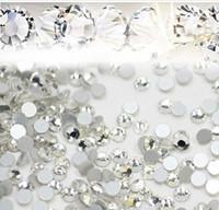 Wholesale White Glitter Tips - Nail Art Glitter Rhinestones White Crystal Clear Flatback DIY Tips Sticker Beads Nail Jewelry Accessory 1440pcs lot Free Shiping