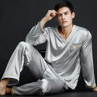 roupas de dormir de seda sexy mais tamanho venda por atacado-2018 primavera verão outono dos homens de cetim de seda pijama set homens long-manga masculino sexy pijamas lazer casa clothing plus size