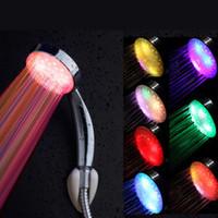 luzes de precipitação venda por atacado-Romântico Automático Magia 7 Cores 5 Luzes LED Entrega Rainfall Cabeça de Chuveiro Única Cabeça Redonda para Banho De Água Do Banheiro