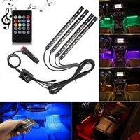 lámpara de coche interior al por mayor-Tira de luz LED RGB para coche Luces de tira RGB 8 colores de coche Lámparas de atmósfera decorativa Luz interior de coche con control remoto