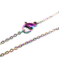 Wholesale link chain - 1 mm Rainbow Color Chain Necklace quot Stainless Steel Chain inch inch inch inch