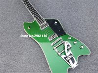 Wholesale guitar body green - Rare Gre G6199 Billy-Bo Jupiter Metallic Green Thunderbird Electric Guitar Abalone Body & Neck Binding,Bigs Tremolo Tailpiece, Clearance