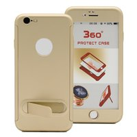 Wholesale Thin Magnetic Case Iphone - Ultra Thin 360 Degree Kickstand Dual Layer Case Shockproof PC Cover With Built In Magnetic Metal Plate For Iphone X 8 7 6 6s Plus Oppbag
